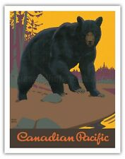 Grizzly Bear - Canadian Pacific - 1938 Vintage Railroad Travel Poster Art Print