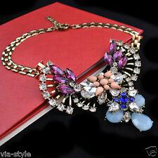 Designer Statement Halskette Collier Kette Vintage Kristall Perle Chunky Trend
