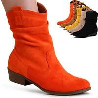Damen Velours Stiefeletten Western Cowboy Stiefel Halbstiefel Booties