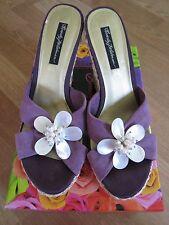 Beverly Feldman Palermo Purple Suede Platforms Wadges Shoes Size 8