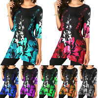 Womens Summer Tunic Tops Floral Short Sleeve Long T-Shirt Blouse Tee Plus Size