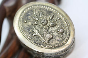 Antique Victorian Vintage Silver Alloy Engraved Oval Jewelry Trinket Snuff Box