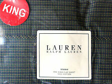 Ralph Lauren STUDIO Small Check Green CA KING or KING FLAT Sheet NEW