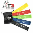 T3 Fitness 5 Pc Set of Durable Natural Latex Resistance Exercise Loop Bands