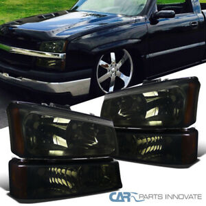 For 03-07 Chevy Silverado Avalanche Pickup Smoke Headlights+Parking Bumper Lamps