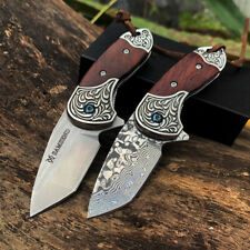SAMSEND Folding knife D2 and VG10 Damascus steel core blade Wood handle EDC knif