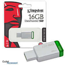 Penna USB Pendrive Memoria Esterna Kingston 16GB 16 DT50 PC Chiavetta 3.0 3.1