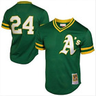 Men's Oakland Athletics Rickey Henderson Mitchell & Ness Green Throwback Jersey