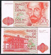 ESPAÑA - BILLETE 2000 PESETAS 1980  J.R. JIMENEZ Serie A  SC-  AUNC
