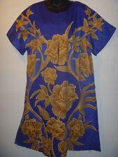 Dress Fits XL 1X 2X 3X Plus Zipper Gold Blue Floral A Shape African Art NWT G974