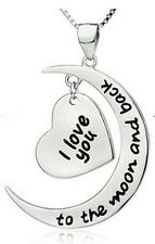 I Love You To The Moon And Back Silver Tone Necklace Girl Love Holiday Gift