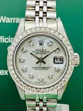 Estate~ Rolex Datejust SS & 18k White Gold Pearl Diamond Dial Bezel Ladies Watch