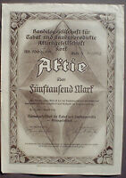 Handelsges. f. Tabak u. Handelsprodukte AG Korf 5000 Mark 1923 unentw. + Kupons