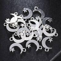 20PCS Cute Crescent Moon&Star Charm Pendant Lot For DIY Bracelet/Earrings Craft