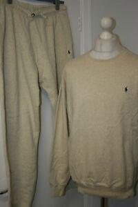 Ralph Lauren Full Tracksuit -M/L -Cream Marl-  Rare Vintage Sweatshirt + Bottoms