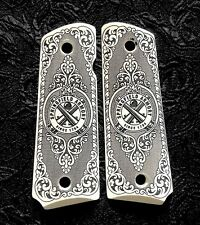 Springfield Armory 1911 full size custom ivory scrimshaw grips scroll Logo