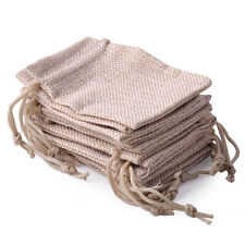 10x Small Burlap Jute Sack Linen Pouch Bag Drawstring Jewelry Gift Wedding Favor