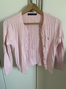 Ralph Lauren Pink Pearlised Button Cable Knit Cardigan Size M (fits small)