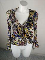Violet & Claire Womens Floral Multicolor Open Shirt Blouse Wrap  Top Size Medium