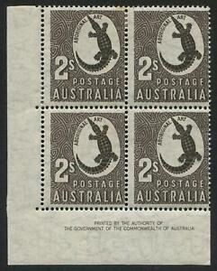 1951 (SG.224var.) 2/- Aboriginal Art, Authority Imprint blk.(4) 2 MUH/2 MLH
