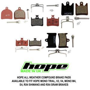 Hope All Weather Compound Brake Pads Mono Trial V2 V4 M4 E4 RX4 All Options New