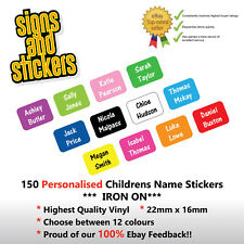 150 PERSONALISED IRON ON NAME TAGS SCHOOL UNIFORM CARE HOME LABELS EASY APPLY 2