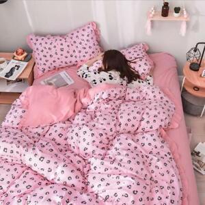 Pink Leopard Print Bedding Set Duvet Quilt Cover+Sheet+Pillow Case Four-Piece