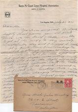 1924 Cover & Letterhead Santa Fe Coast Lines Hospital Association Los Angeles CA