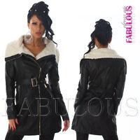 Sexy Women's Faux Leather Coat Jacket Trendy Outerwear Size 6 8 10 12  XS S M L