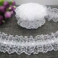 New DIY 5 yards 2-Layer 45mm Organza Lace Gathered Pleated Sequined Trim White