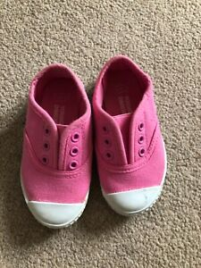 Excellent baby girl shoes trainers sneakers size 5 22 slip-on pink fabric