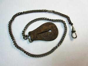 VINTAGE WW1, WW2 POCKET WATCH CHAIN & LEATHER LANYARD - Dog clip!