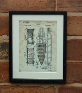 """USA Patent Vintage SURF BOARD SURFING wave Mounted PRINT 10"""" x 8"""" 1950 Gift Xmas"""