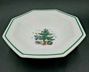 "NIKKO CHRISTMASTIME HOLIDAY OCTAGONAL VEGETABLE BOWL 9 1/4"" BONE CHINA NEW"