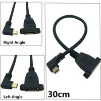 Mini DisplayPort Male 90°angle to DisplayPort Female panel mount Extension Cable
