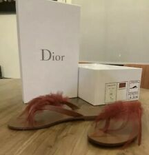 New Authentic Christian Dior Ethnie Women Sandals Flip Flop Red Feather 6 $650