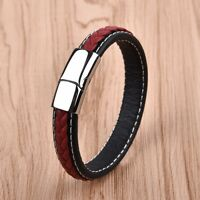 Men Punk Style Fashion Jewelry Concise Leather Bracelet For Male Bangle Red