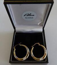 Adara Diamond Hoop Earrings in 9ct 2-colour Gold