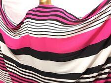 *NEW* Georgette White-Multicolour Striped Print 2 Dress/Craft Fabric *FREE P&P*