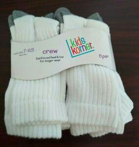 6 Pairs Kids korner Crew Reinforced Heel & Toe Boy's Socks, Socks Size: 7-8.5 -