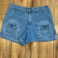 Vintage 90's Polo Jeans Co RL Blue Denim Dunne Carpenter Shorts Size 10