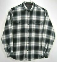 Woolrich Mens Size Extra Large Flannel Shirt Gray Plaid Long Sleeve Cotton EUC