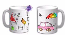 Personalised Draw own design mug. Print your own art on the mug. Own art mug cup