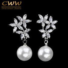 CWWZircons Silver Plated CZ Crystal Flowers Drop Wedding Party Pearl Earrings