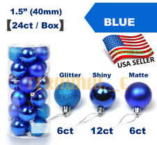 24 CT Shatterproof Christmas Ornament Balls Tree Hanging Wedding Decor BLUE