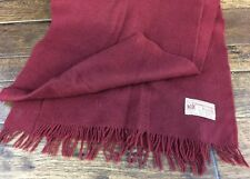 Vintage Johnstons of Elgin Cashmere Wool Scarf Burgundy Short Fringe Clean