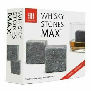 Whisky Stones MAX 2 large Soapstone Ice Cube Gift for Cooling Drinks. Xmax Gift