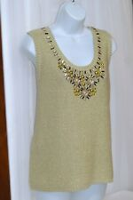 Ruby Rd Gold sleeveless Embellished Sweater XL NWT