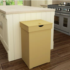 13-Gallon Retro Trash Can Kitchen Garbage Bin Wooden Recycling Wastebasket w/Lid