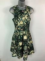 BNWT WOMENS H&M GREEN FLOWER PATTERN CASUAL LINED FIT SKATER DRESS SIZE 36 UK 10